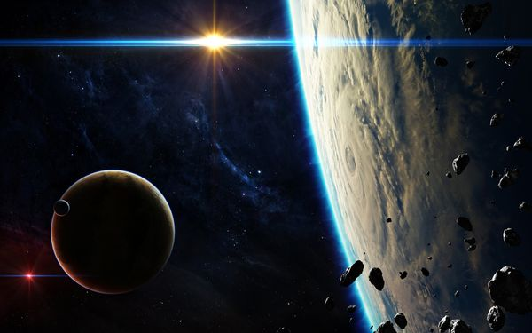 Обои planets, Sci Fi, blue, light, satellites, asteroids