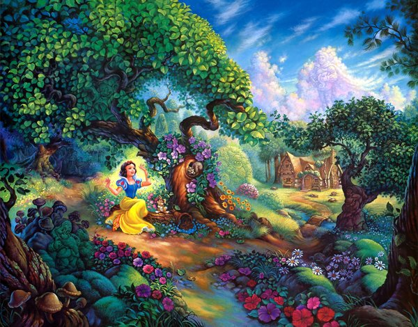 Обои цветы, Snow Whites, painting, cartoon, Tom duBois, домик, Snow Whites Magical Forest, forest, Walt Disney