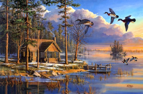 Обои sunrise, flying, house, forest, painting, ducks, Mary Pettis, Spring Arrivals, spring, lake