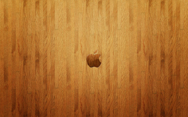 Обои Logo, wood, wall, Apple