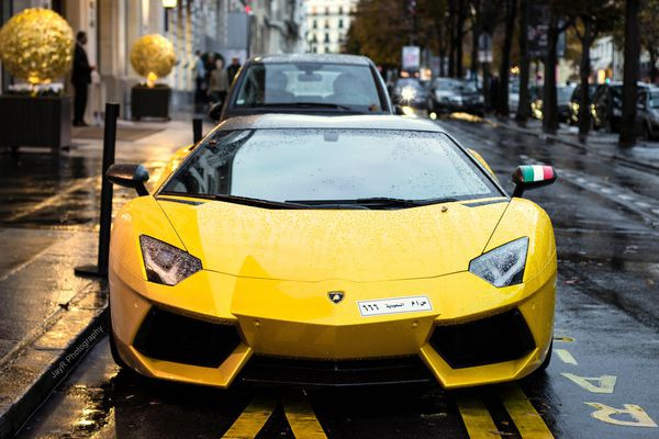 Обои Supercar, V12, LP700-4, Yellow, France, Lamborghini, Paris, Aventador