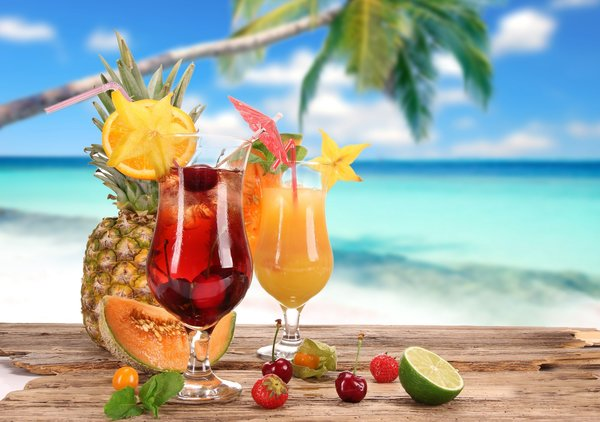 Обои strawberry, лето, cherry, glasses, pineapple, cocktail, food, summer, lime, coconut, fruits, cocktails, коктейль, melon