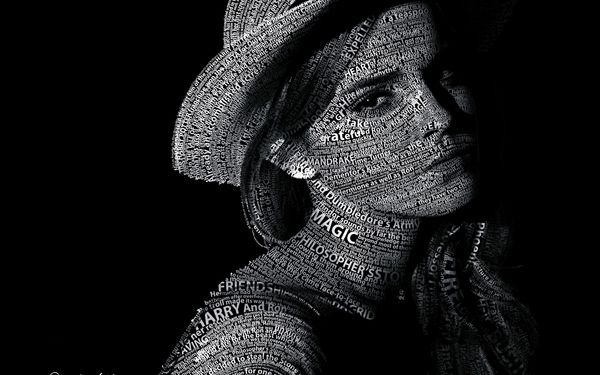 Обои Typography, текст, Text, Portrait, Эмма Уотсон, Emma Watson