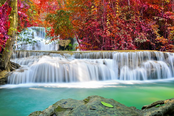 Обои waterfall, autumn, emerald, river, flow, water