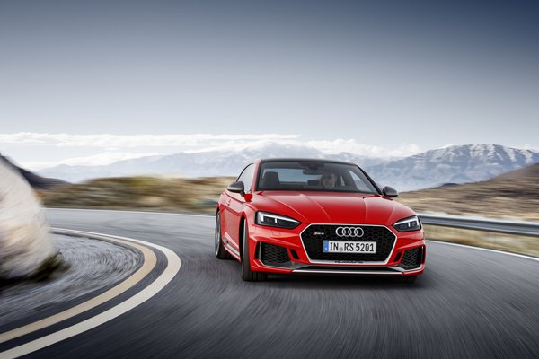 Обои RS5, German, A5, Drive, Red, RS, Audi, Speed, Road, 2018