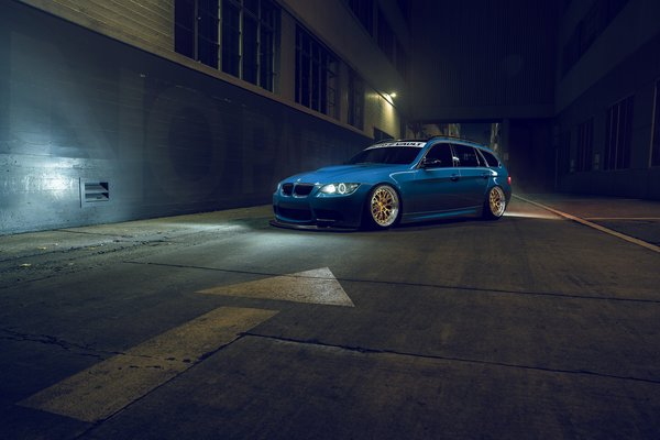 Обои Stance, Blue, Rotifrom, BMW, Front, E91