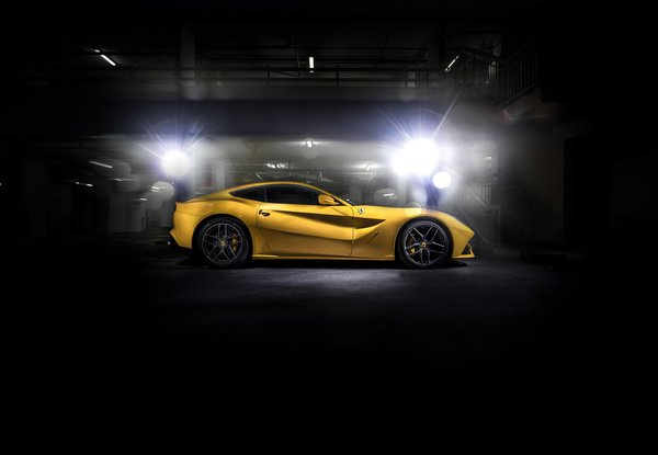 Обои black, F12, Ferrari, yellow