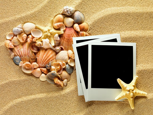 Обои sand, heart, ракушки, starfishes, песок, texture, seashells, photo frame, сердце