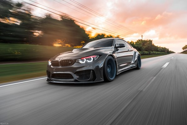 Обои Sight, LED, Graphite, Dynamic, BMW, F82, Sunset, Evening