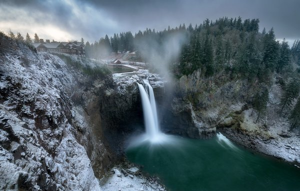 Обои winter, waterfall, Washington, Snoqualmie Falls