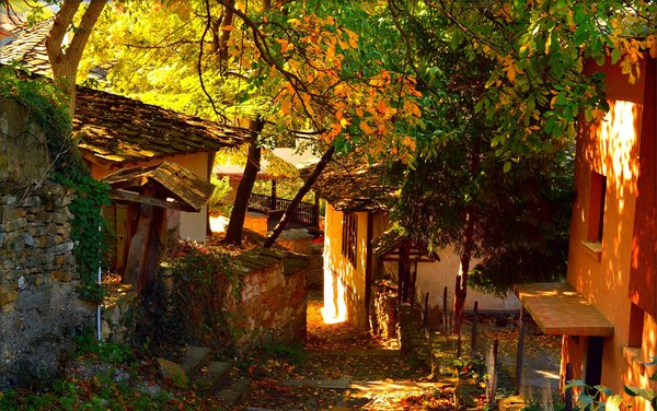 Обои Дома, Village, Autumn, Houses, Деревня, Осень