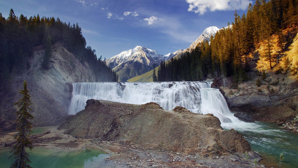 Обои Wapta Falls, Canada, Канада, Yoho National Park, British Columbia, водопад, горы, Kicking Horse River