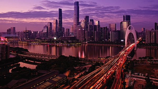 Обои city, river, sunset, lights, sky, evening, skyscrapers, architecture, water, buildings, clouds, Pearl River, cityscape, cars, twilight, China, Guangzhou, bridge