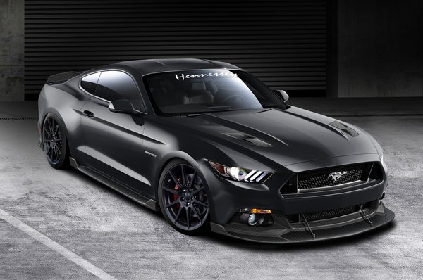 Обои Ford, 2015, Hennessey, Black, Front, Mustang, Hpe700