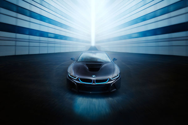Обои BMW, View, Front, Ligth, Car, i8, Sport, Black, Blue