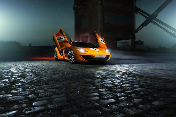 Обои McLaren, Ligth, MP4-12C, Nigth, Beam, Supercar, Orange, Color