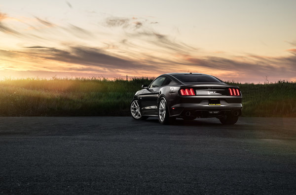 Обои Ford, Muscle, Car, Mustang, Garde, Rear, Avant, Wheels, Sunset, Sunrise