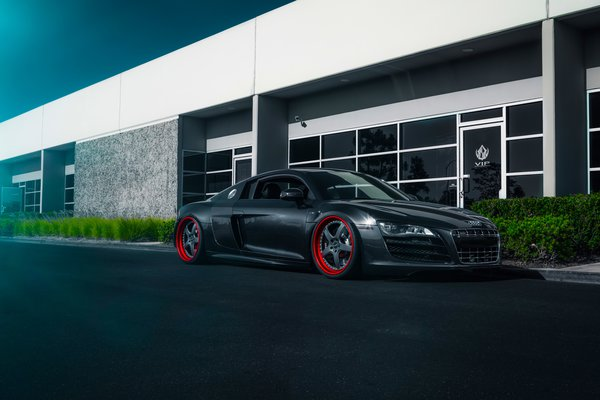 Обои Audi, Front, Blue, Ligth, Wheels, Road, Supercar, R8, Stancenation