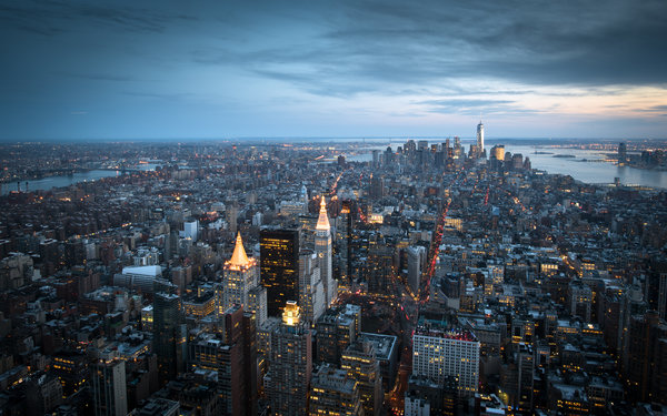 Обои New York City, Манхэттен, Нью-Йорк, здания, панорама, Manhattan