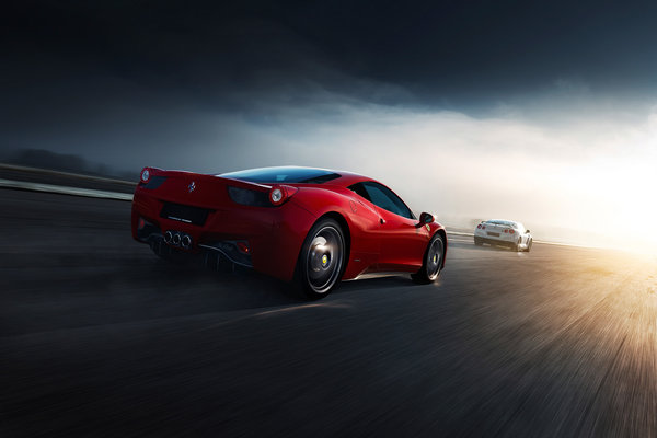 Обои Ferrari, Nissan, White, 458, Road, Italia, R35, Norway, Red, Supercars, Rear, GT-R