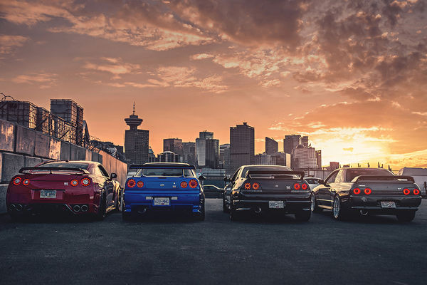 Обои Nissan, GTR, R35, R32, R34, Cars, Skyline, Japan, R33, Rear, Sunset, Legend