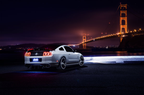 Обои Ford, Collection, Muscle, Nigth, Mustang, Car, Bridge, Rear, White, Aristo