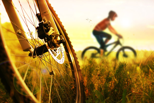 Обои cycling, legs, sunset, bike
