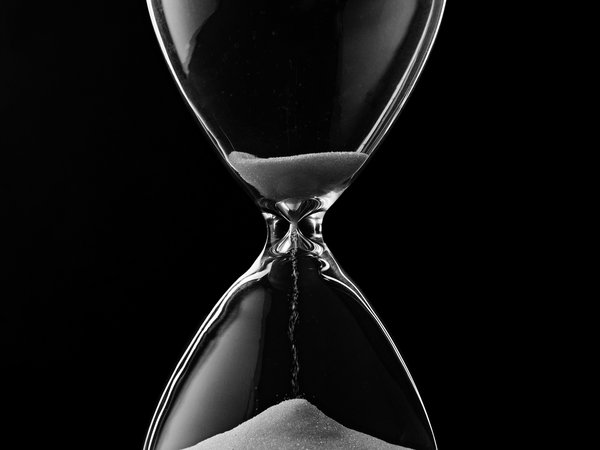 Обои hourglass, time, black, glass, sand