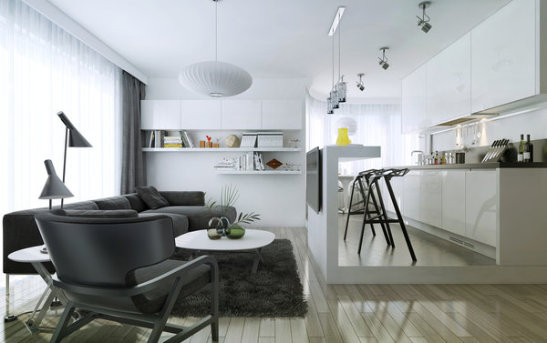Обои living room, department, kitchen, modern