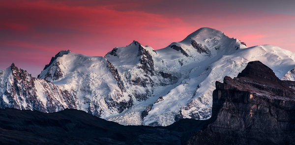 Обои Mont Blanc, Mountain, Beauty, Sky, Clouds, Snow, Landscape, Samöens, Pink, View