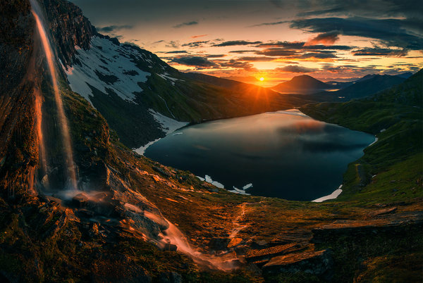 Обои Northern, Lake, Sunrise, Norway, Mountains, Sunset, Norway