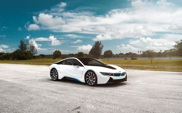Обои BMW, Clouds, Front, Matte, Sky, Car, White, i8