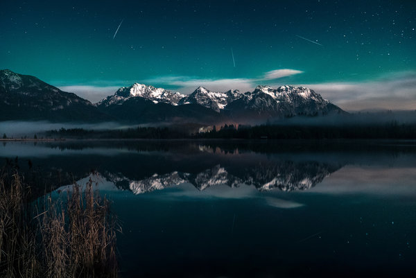 Обои Barmsee, Light, Exposure, Milky Way, Clouds, Blue, Comet, Galaxy, Lake, Long