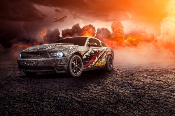 Обои Ford, Muscle, Mustang, Perfomance, Fire, Turbo, Comp, Front, Car