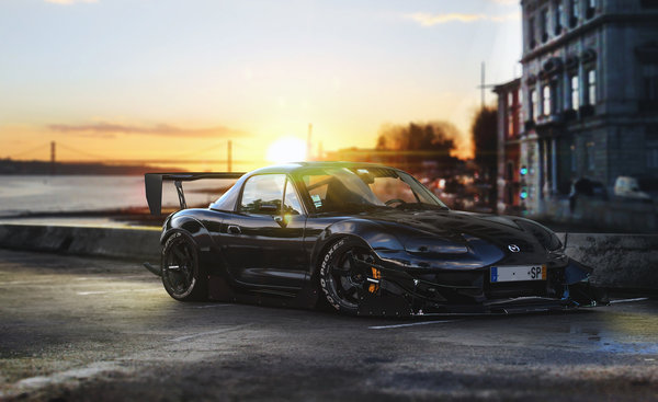 Обои Mazda, Front, Time, MX-5, Black, Tuning, Attack