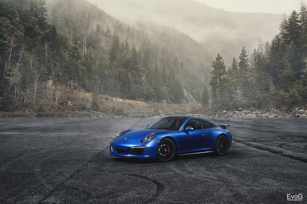 Обои porsche, 911, blue, car, gts, evoG photography
