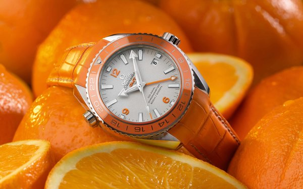 Обои Омега, Omega Seamaster Planet Ocean Orange Ceramic, наручные часы, Omega