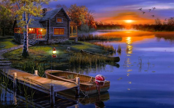 Обои утки, boat, duck, lake, домик, озеро, autumn, cabin, осень, darrell bush, лодка