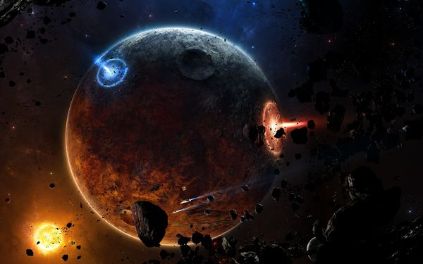 Обои meteorites, spaceships, sci fi, fire, astroides, planet