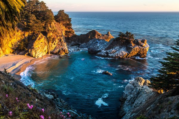 Обои Mcway Falls, море, берег, Big Sur, Pfeiffer State Park