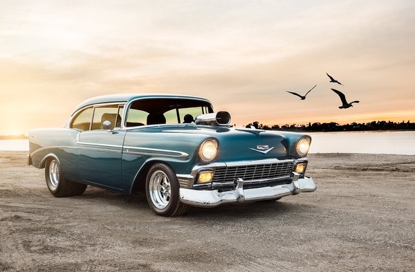 Обои 1956, coupe, bel air, chevrolet, sport