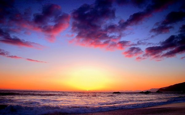 Обои Sea, Sunset, Surf, Sky