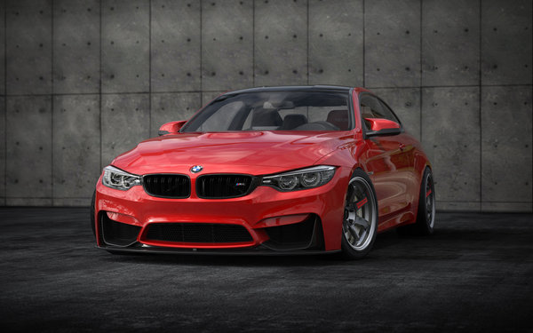 Обои BMW, M4, stance, 2018 cars, red, tuning, f82
